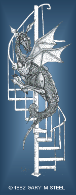 Winged dragon on spiral stairs by Gary M. Steel